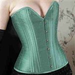 She Said Corsetry C2^What Katie Did Betty Raw Silk Corset Orchard Green Orchard Green &amp;pound;172.99