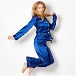 Olivia von Halle Coco Silk Pyjamas by Olivia Von Halle Royal Blue Silk £299.00