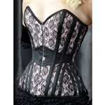 She Said Corsetry C2^What Katie Did Gorgeous Lace & Satin TwoTone Corset Pale Pink   Blk Lace £220.00