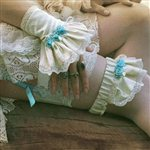  Blue Rose Silk Bridal Garter Ivory and Blue &amp;pound;67.99