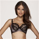 Miss Mandalay Amelie Lace & Satin Underwired Bra Black & Mink £54.99