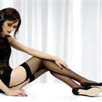 Jonathon Aston Seam & Heel Stockings Black with Scarlet Black Scarlet. £9.99