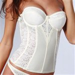  Cream Retro Style Fitted Bridal Basque Ivory Lace and Satin &amp;pound;89.99