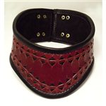  Deep Red Hand-punched Leather Buckled Collar Deep Red and Black &amp;pound;90.00