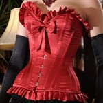 She Said Corsetry C2^What Katie Did Showgirl Ruffle &amp; Bow Corset Scarlet Satin &amp;pound;190.00